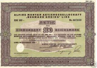 Germany WWII Nazi Hermann Göring 100 RM 1939 Bond Share
