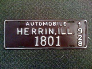 Nice 1928 Herrin Illinois Car Automobile License Plate Tax Tag