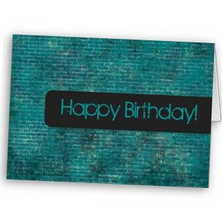 Teal Background Happy Birthday Card