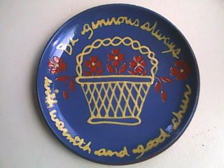 Gris Pottery Plate Signed and Dated 1986