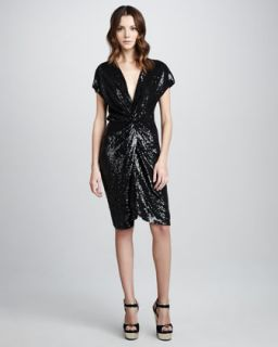 Haute Hippie Draped Sequined Dress