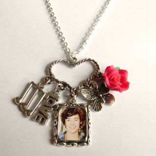 Harry Styles One Direction Picture Heart Charm Necklace