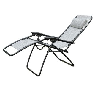 Gravity Chair Folding Recliner Outdoor Lounge Chairs Patio Pool Grey