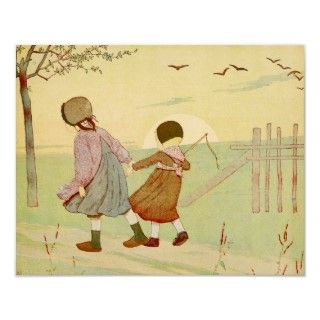 Beautifully delicate vintage French childrens book illustration of