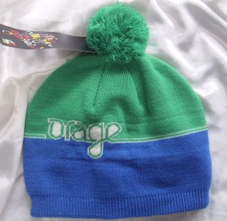 NWT ORAGE Hartland ALL FUN and GAMES Green Blue Beanie Knit Fleece Hat