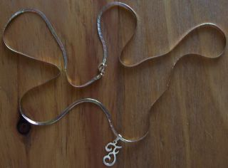 14 Karat 14K Tri gold Herringbone Chain Necklace With F Initial