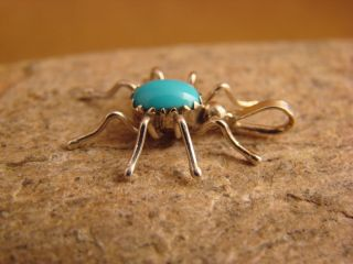 Indian Sterling Silver Turquoise Spider Pendant by Spencer Jewelry