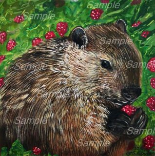 Woodchuck Giclee Painting Marmot Groundhog Raspberry Wildlife Spring