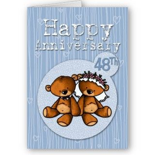 happy anniversary bears   48 year greeting cards
