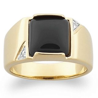 Mens Genuine Black Onyx Gold Over Sterling Silver Ring