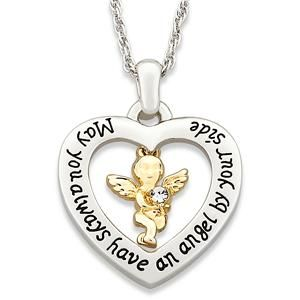 Tone Guardian Angel Heart Pendant Necklace New
