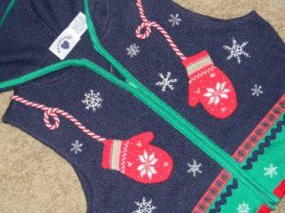 Hartstrings Girls Size 10 12 Hooded Sleeveless Ugly Christmas Sweater