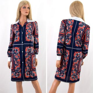 Vtg 60s Shift Dress Stan Herman Mr Mort Red White Navy Blue Graphic