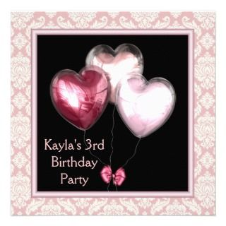Pink Balloon Hearts Damask 3rd Birthday Party Invitations