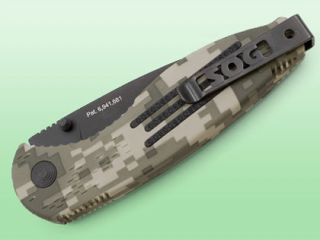 SOG Specialty Knives & Tools AE 06 Digi Camo Aegis Knife, Black TiNi