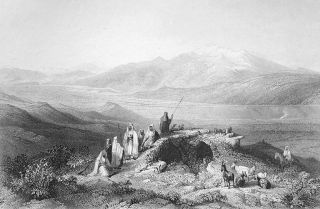 Holy Land Israel Mount Hermon River Jordan Bartlett Antique Print