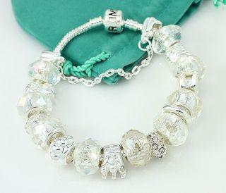 Hermosa Transparent Crystal Diamond Silver Bracelet 8