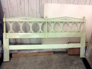 Antique elegant style king size headboard cottage green color metal
