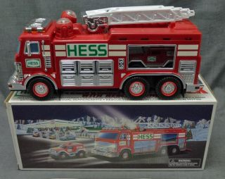 2005 Hess Emergency Fire Ladder Truck w Rescue Vehicle New in Box