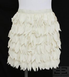 Haute Hippie Cream Laser Cut Silk Mini Skirt Size M New