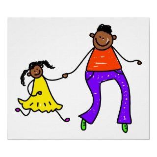 Cute cartoon whimsical illustration of a little ethnic girl holding