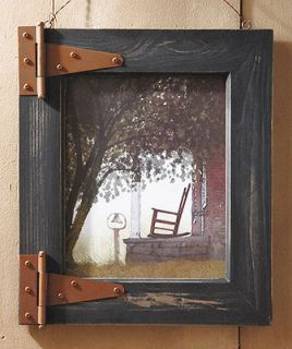 Barn Door Rocking Chair Wall Art w/ Rustic Wood Frame Room Decor