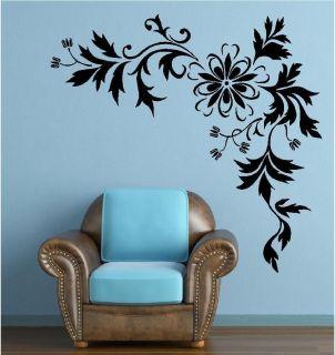 Stylish Flower Corner Wall Art Sticker Large Swirl Vine Decal Transfer