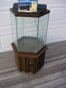 35 Gallon Hexagon Glass Aquarium Fish Tank with Oak  Trim