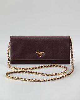 Prada Saffiano Metal Oro Chain Wallet