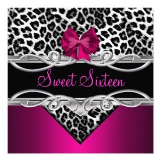 Sweet 16 Party Elegant Pink Black White Leopard Personalized