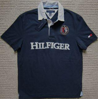 Tommy Hilfiger Navy White Premium Polo Shirt w Denim Collar Mens $58
