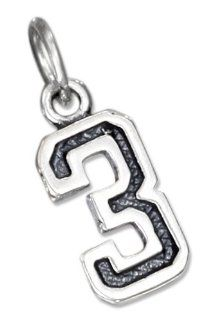 Sterling Silver Jersey 3 Number Charm Jewelry