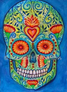 Karen Hickerson Day of The Dead Sugar Skull Folk Art Abstract Print