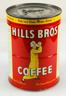 Vintage Nos 1945 Hills Bros Key Wound Coffee Tin Can San Francisco CA!