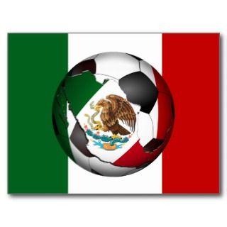 Mexico Soccer Ball w/Flag Colors Background Post Cards