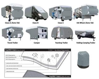 Classic Accessories 73663 PolyPro III Deluxe Grey Travel Trailer Cover