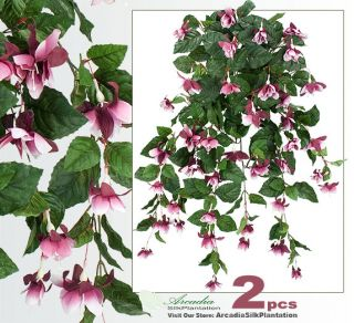 Two 35 Hanging Fuchsia Artificial Flower Silk Plants B