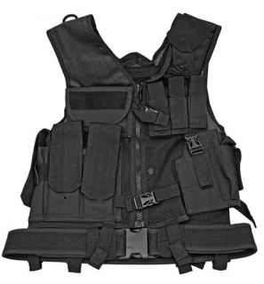 Heavy Duty Mesh Tactical Vest Black Flexible One Size Fits Most 7