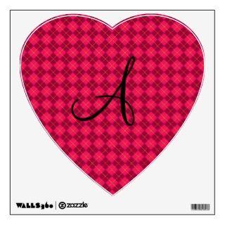 Pink argyle monogram gifts wall sticker