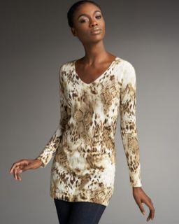 Sofia Cashmere Animal Print Cashmere Sweater