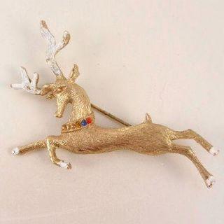 HEDY Vintage Reindeer Christmas Pin Brooch Signed