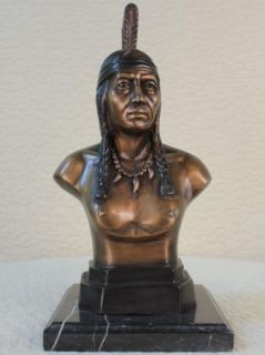 Bust of Indian Chief Bronze Sculpture Statue Original Signed Nick