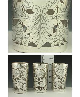 Sterling Silver Overlay Grape Cluster Juice Glasses