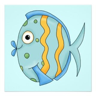 Cute Little Tropical Ocean Fish Cartoon Character Announcements