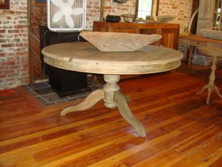 58 1 2 Round Dining Kitchen Game Table Reclaimed Wood Gray Tones