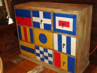 Old Wood Painted Blue White Red Cabinet Console Dresser
