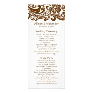Brown Print Floral Swirls Damask Wedding Program Custom Invites
