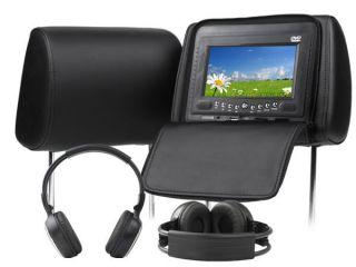 LCD Black Pillow Headrest Monitor IR Headphone DVD Player P2