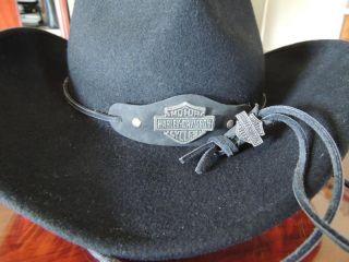 Harley Davidson Black Wool Cowgirl Western Hat HDB 1