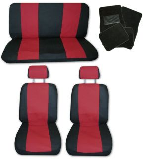 Lightweight Red Black Synthetic Leather Car Seat Covers w/ Black Floor